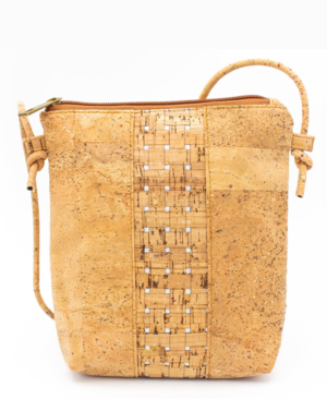 natural cork with silver grid across-body bag