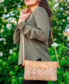 natural cork laser cut Leaf across-body bag