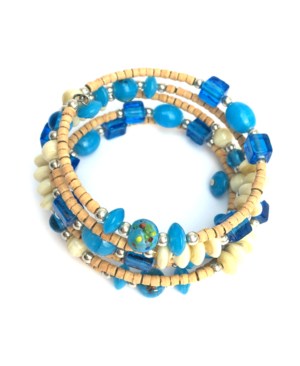 Poplar Wood and Resin Stretch Bracelet
