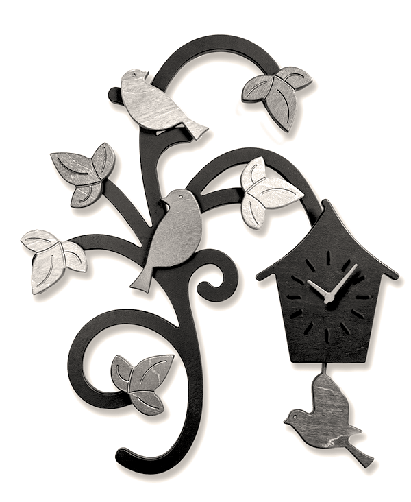 Charm of Finches Wooden Pendulum Clock