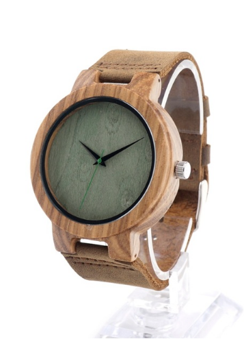 Men's Bamboo Wood Watch With Leather Strap
