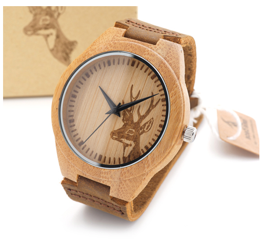 Ladies Bamboo Deer Watch with Leather Strap