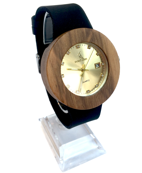 Ladies Vintage Wooden Quartz Watch With Black Leather Strap & Gold Face