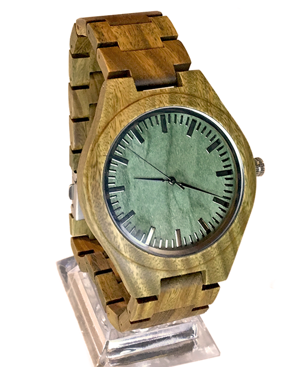 Men's Zebrawood Green Vintage Quartz Watch