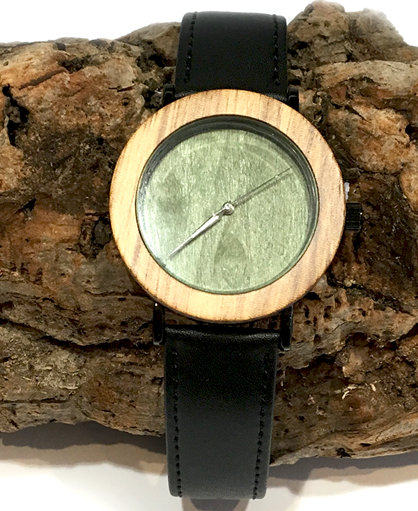 ladies zebrawood green face quartz watch