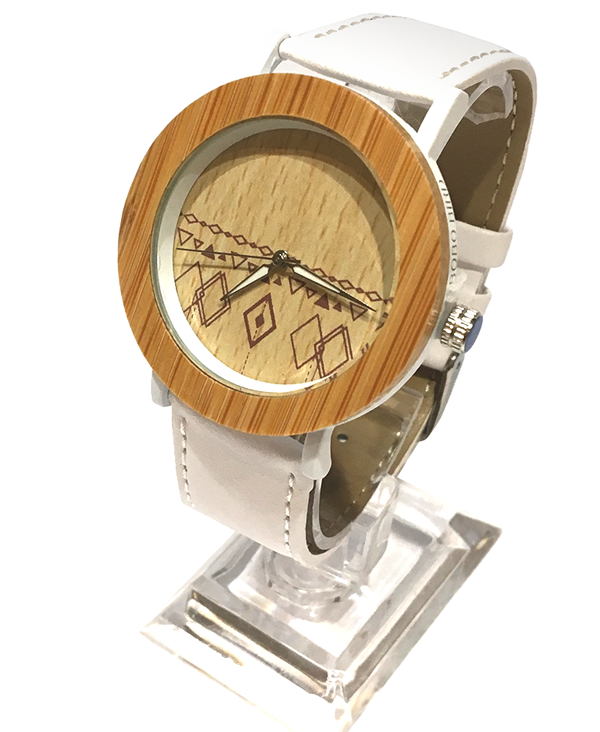 Ladies Bamboo Patterned Face Watch with White Leather Strap