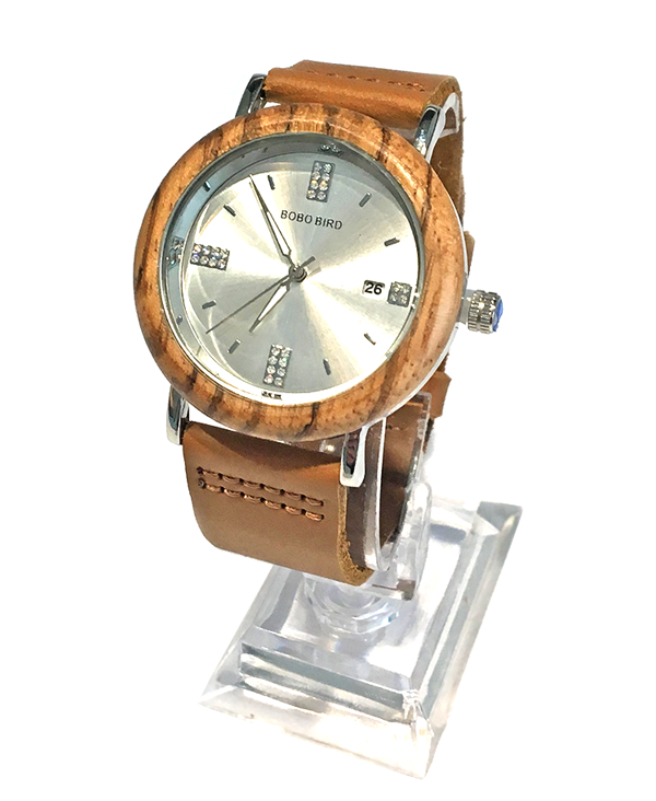Ladies Zebrawood Watch Silver Face Diamante Detail