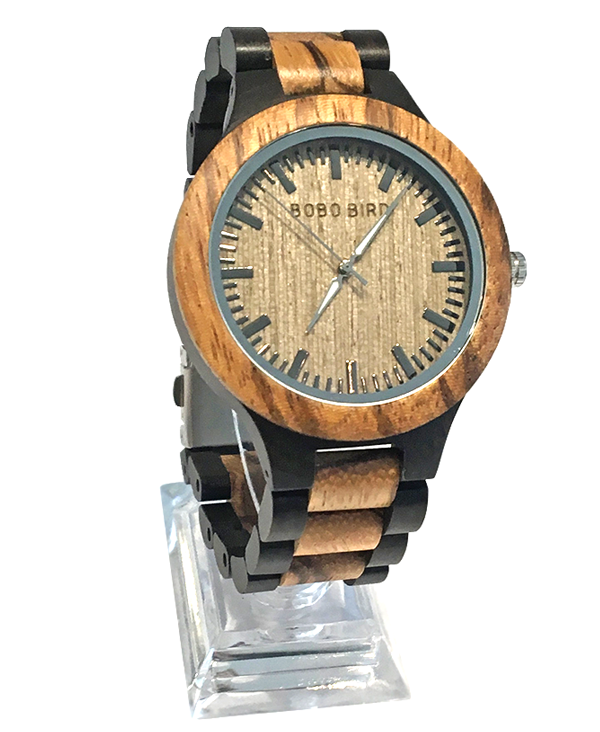 Mens Zebrawood Ebony Quartz Watch