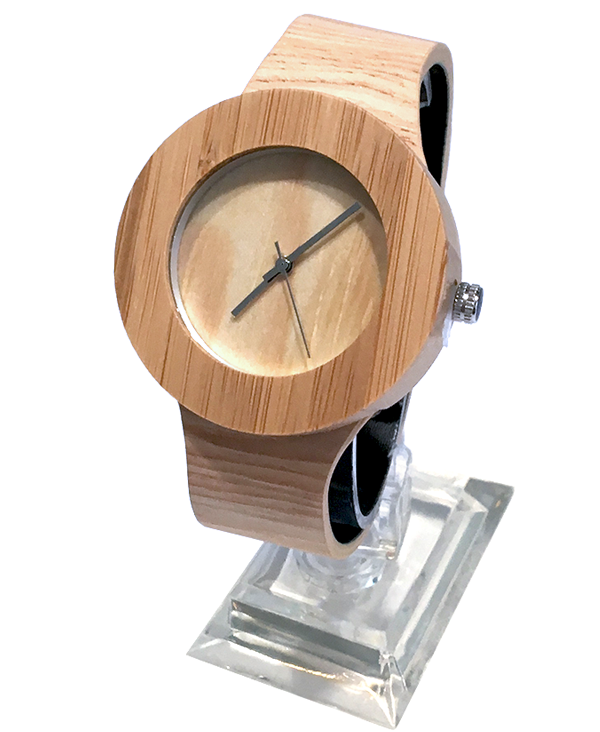 Ladies Chunky Bamboo Quartz Watch with PU Leather Strap
