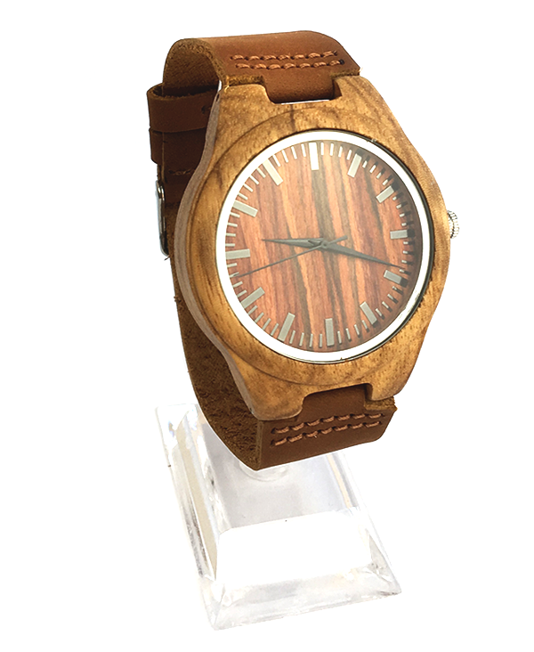 Men's Japanese Quartz Zebrawood Watch