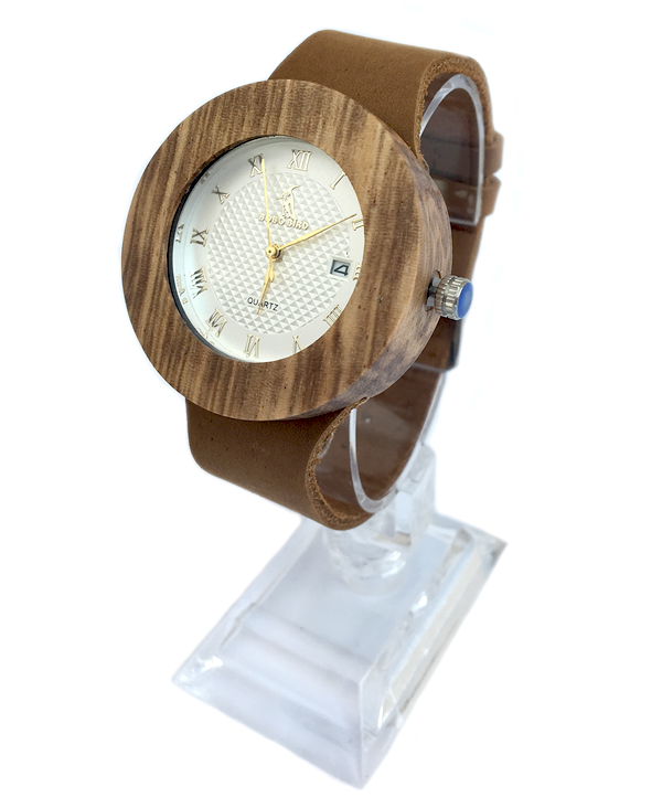 Ladies Vintage Wooden Quartz Watch With Leather Strap
