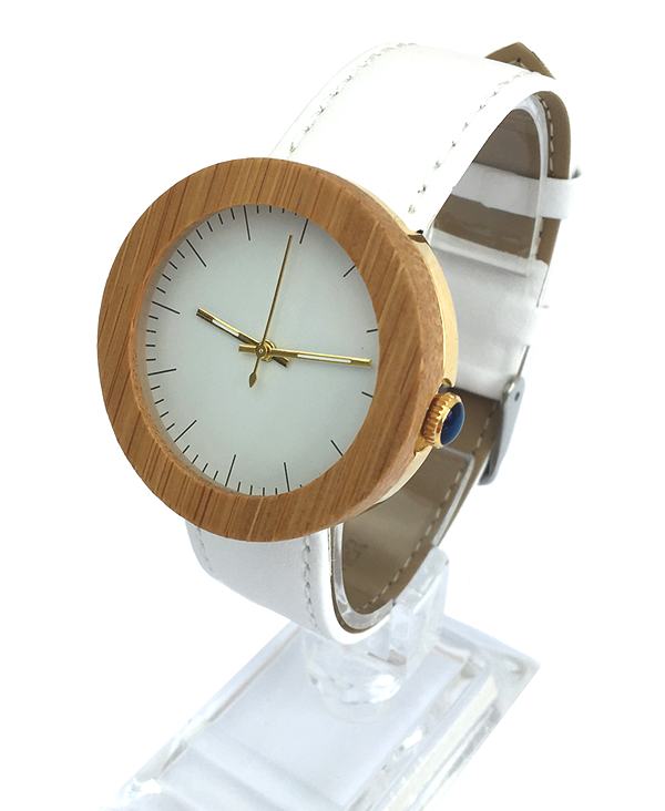 Ladies Bamboo Wooden Watch With White Leather Strap
