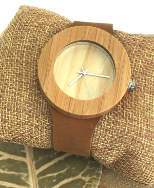 Ladies Bamboo Watch With Neutral Leather Strap