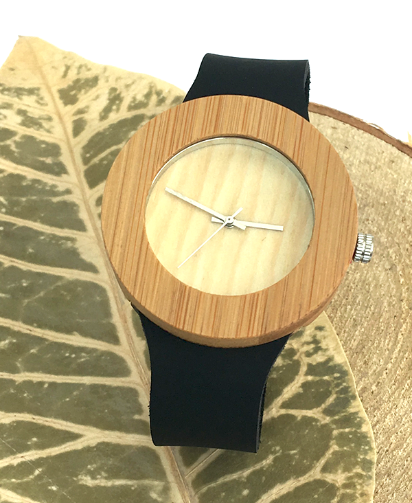 Ladies Bamboo Watch With Black Leather Strap