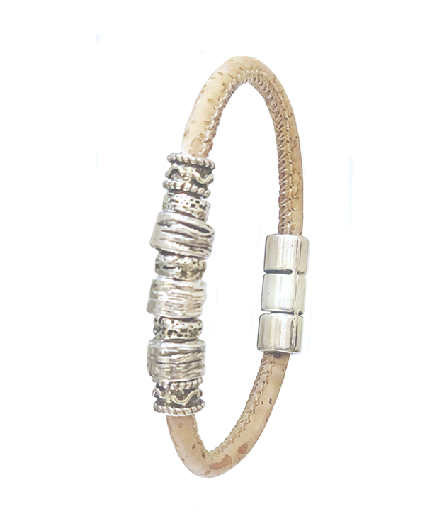Natural Cork Bracelet with Silver Ornaments