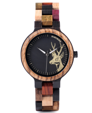 Ladies Deer Design Wooden Watch