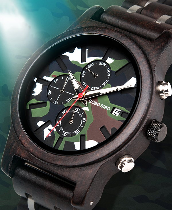 Men's Camouflage Design Wooden Watch_2