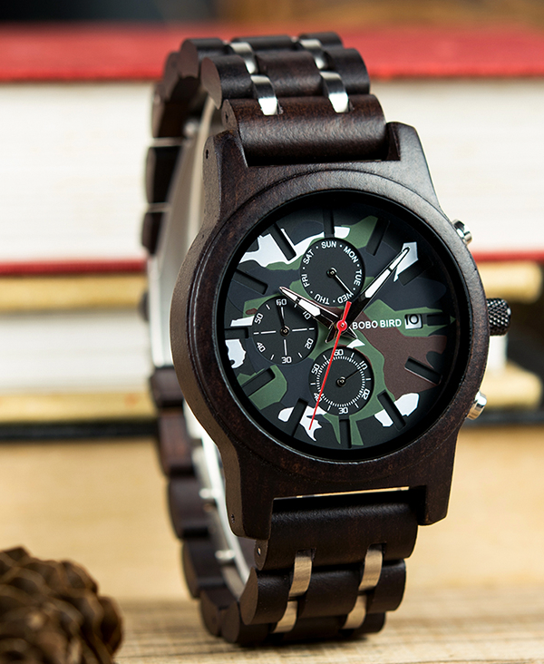 Men's Camouflage Design Wooden Watch_3