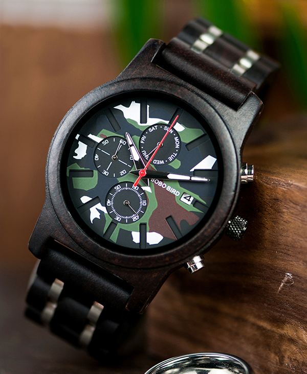 Men's Camouflage Design Wooden Watch_4