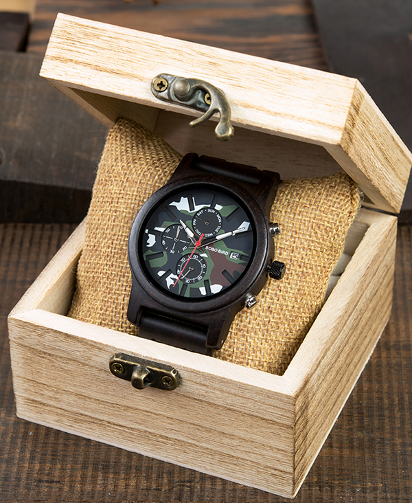 Men's Camouflage Design Wooden Watch_5