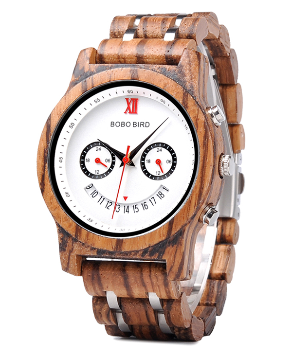 Mens Luxury Chronograph Zebrawood Watch