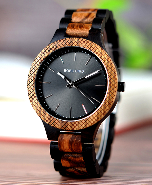 Men's Luxury Ebony And Zebrawood Quartz Watch