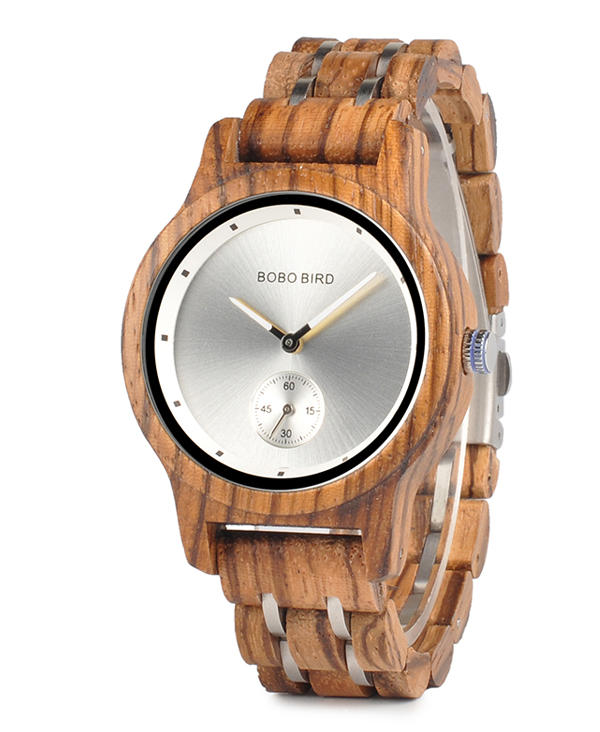 Mens Luxury Zebrawood Watch with Silver Face