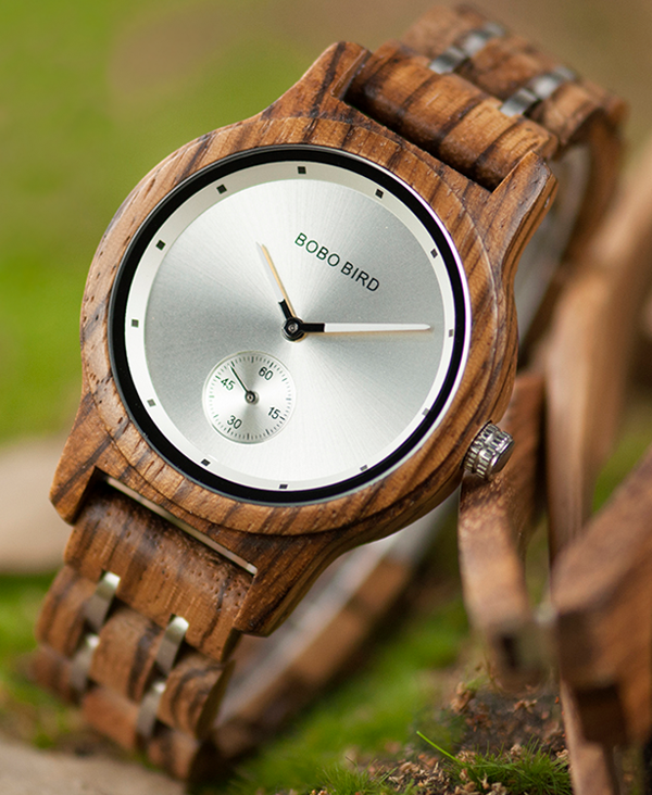 Men's Luxury Zebrawood Watch with Silver Face_2