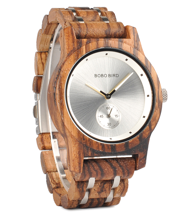 Men's Luxury Zebrawood Watch with Silver Face_3
