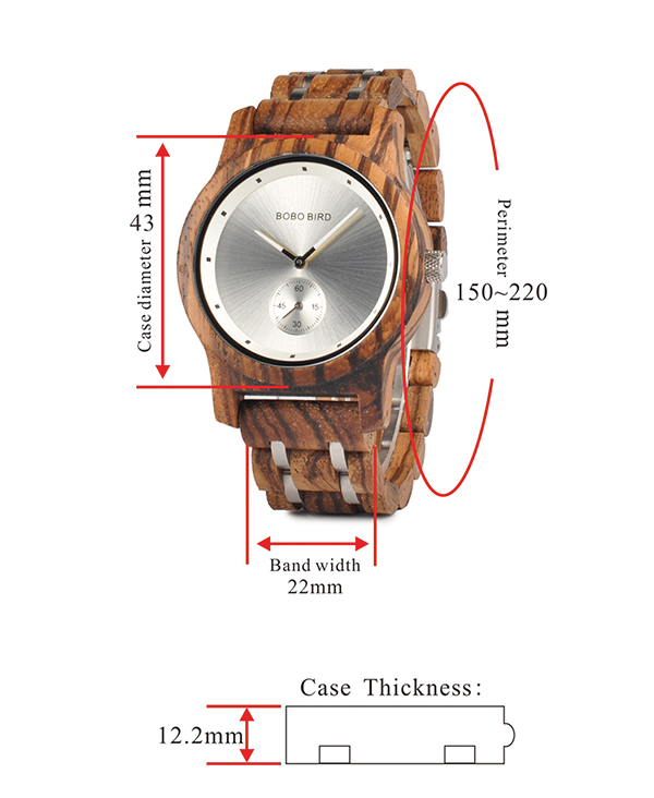 Men's Luxury Zebrawood Watch with Silver Face_4