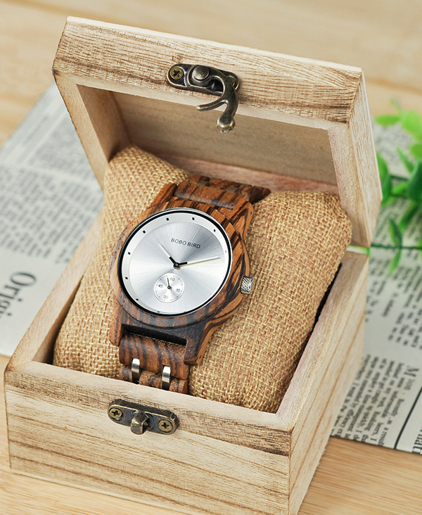 Men's Luxury Zebrawood Watch with Silver Face_5