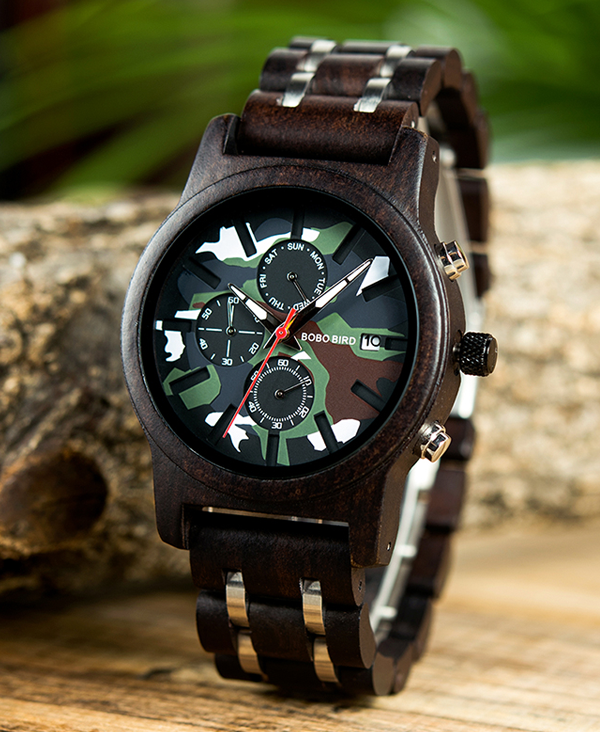 Mens Camouflage Design Wooden Watch