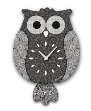 Black & Grey Wooden Owl Pendulum Clock