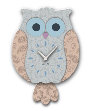 Blue & Grey Wooden Owl Pendulum Clock