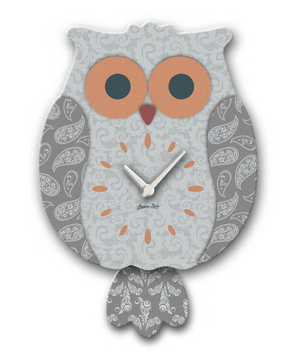 Grey & Orange Wooden Owl Pendulum Clock