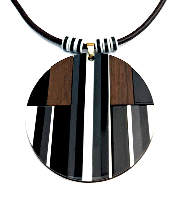 Monochrome Wood Pendant