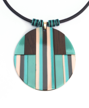 teal and pink wood pendant