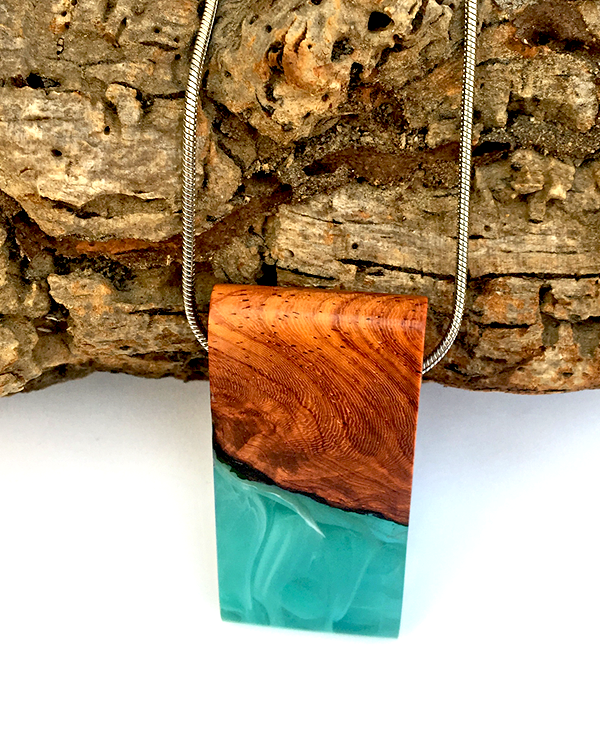 Mint Green Resin and Wood Pendant