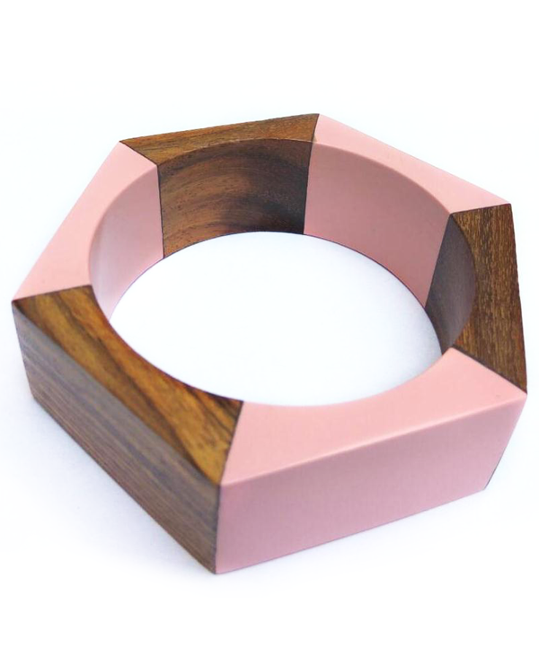 Pale Pink Hexagonal Bangle