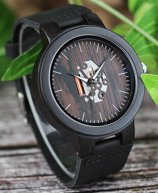 Men's Blackwood Watch with Black Leather Strap & Skeleton Face