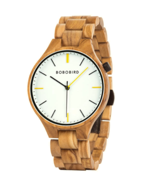 Men's Luxury Zebrawood Watch with White Face