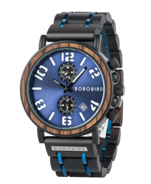 Men's Luxury Chronograph Wooden Watch With Blue Face