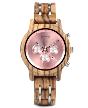Ladies Zebrawood Chronograph Luxury Watch
