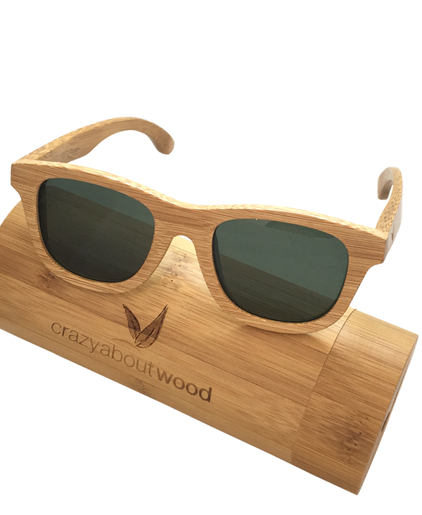 e1a98c63101 Carbonized bamboo sunglasses with green polarized lenses